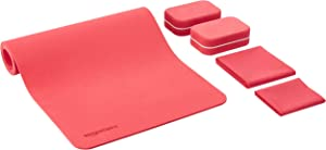 AmazonBasics 1/4-Inch Thick TPE 6-Piece Yoga Set with Mat - Red