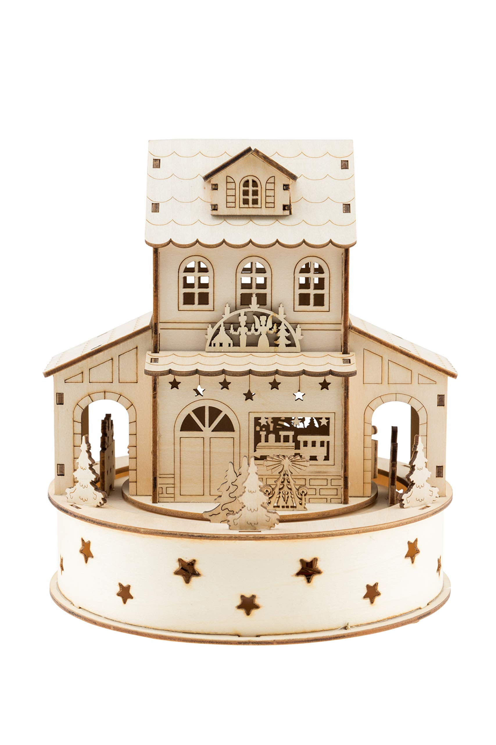 Clever Creations Traditional Wooden Table Top Christmas Decoration | Build Your Own Christmas Village | Unique House with Battery Operated Rotation and Christmas Lights | Christmas Trees and Train Eng