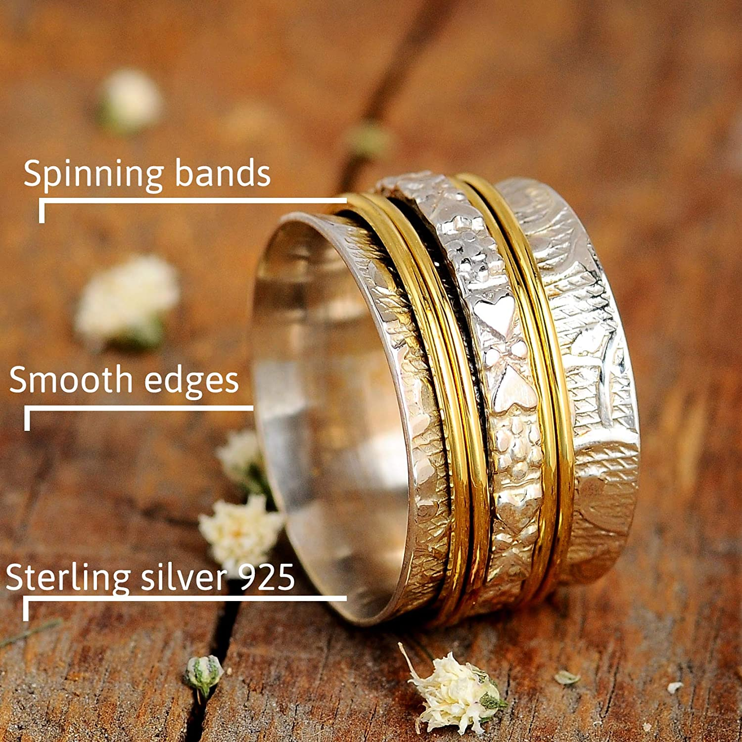 Sterling Silver Spinner Ring-meditation Spinner Ring-925 silver Anxiety Ring-Stress Ring-Fidget Ring-worry ring-Thumb Band-promise ring
