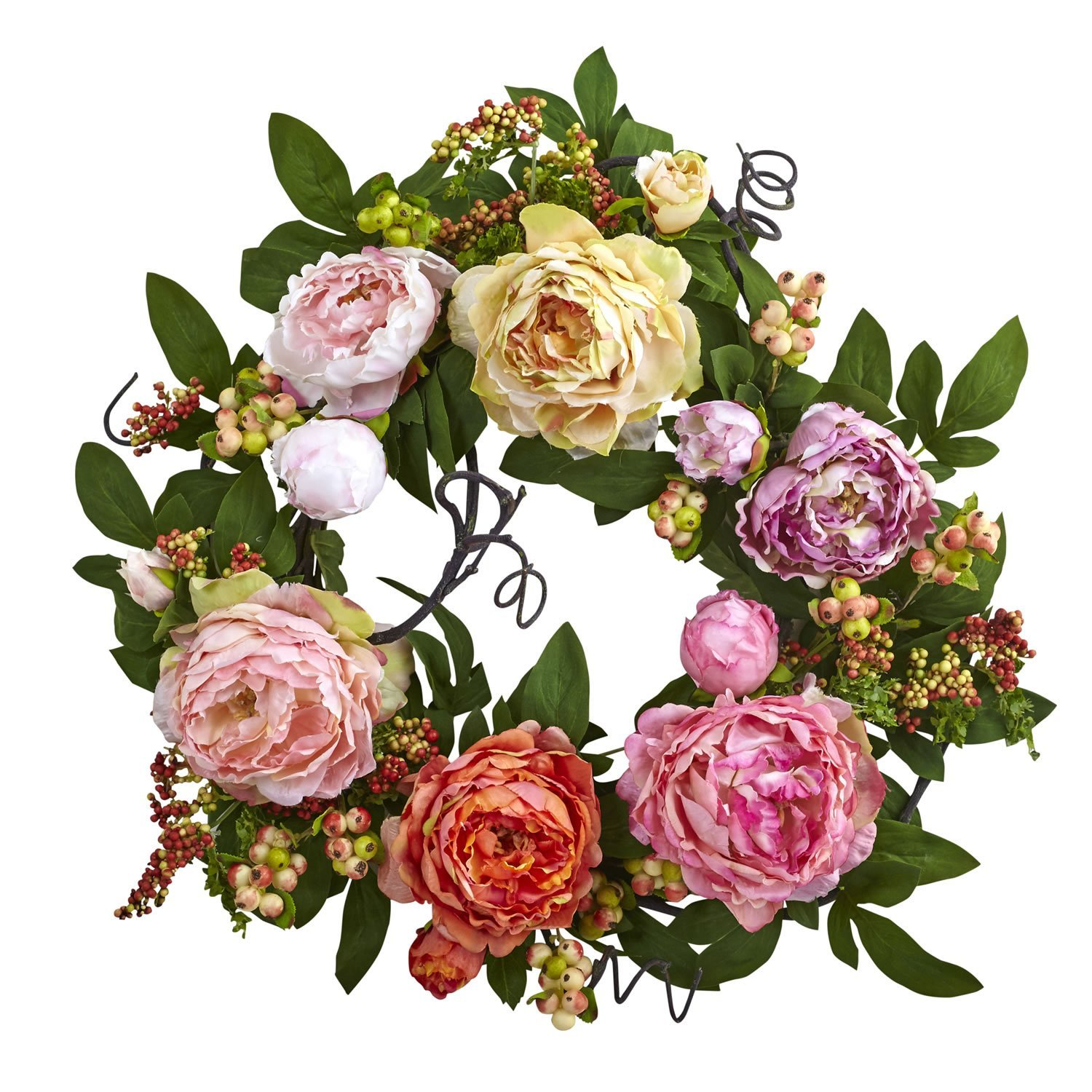 Mixed Peony /& Berry Wreaths Assorted Nearly Natural 4537 20in