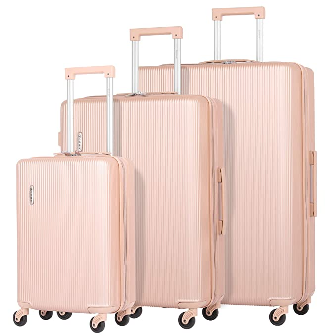 "5 Cities Lightweight ABS Hard Shell 3 Piece Luggage Suitcase Set with 4 Wheels, 21"" Cabin + 25"" Medium + 29"" Large (Rose Gold)"