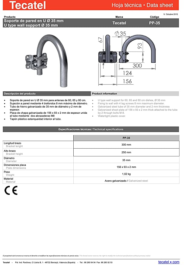 Tecatel K80C1LS - Kit parabólica 80 cm, soporte y LNB Universal: Amazon.es: Electrónica