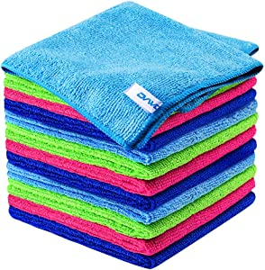 12Pcs Premium Microfiber Cleaning Cloth by ovwo - Highly Absorbent, Lint Free, Scratch Free, Reusable Cleaning Supplies - for Kitchen Towels, Dish Cloths, Dust Rag, Cleaning Rags in Household Cleaning