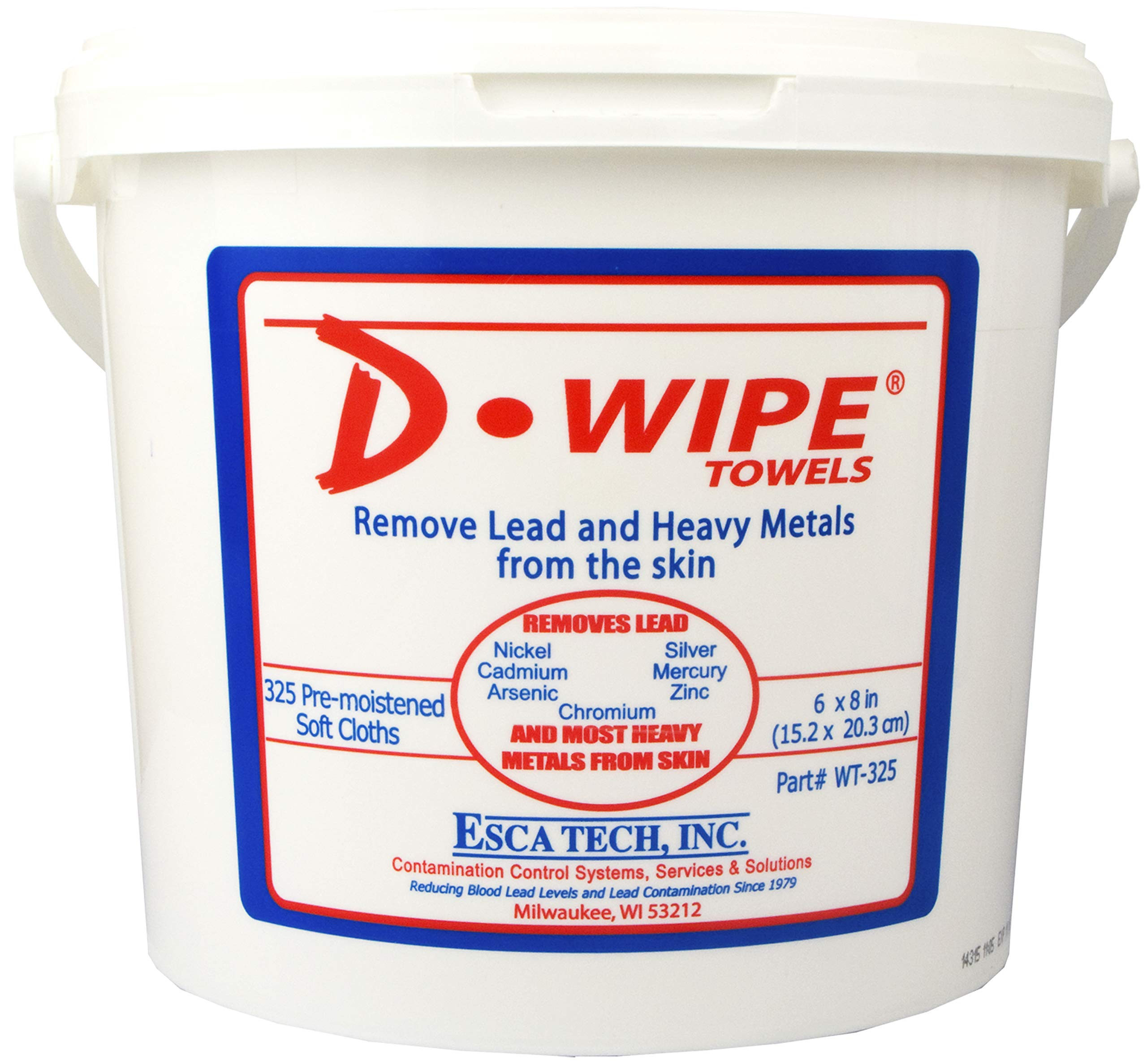 D-Wipe Towels, Lead Removing Disposable Wipes (325 Wipes), WT-325 by ESCA Tech