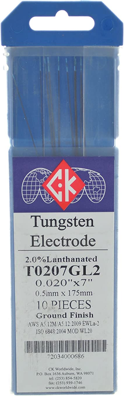 CK T0207GL2 2/% Lanthanated Tungsten Electrode .020 X 7 Pack of 10