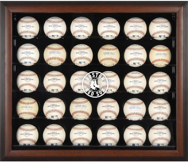 ボストンレッドソックスFramed 30-ballロゴ表示ケース ブラウン