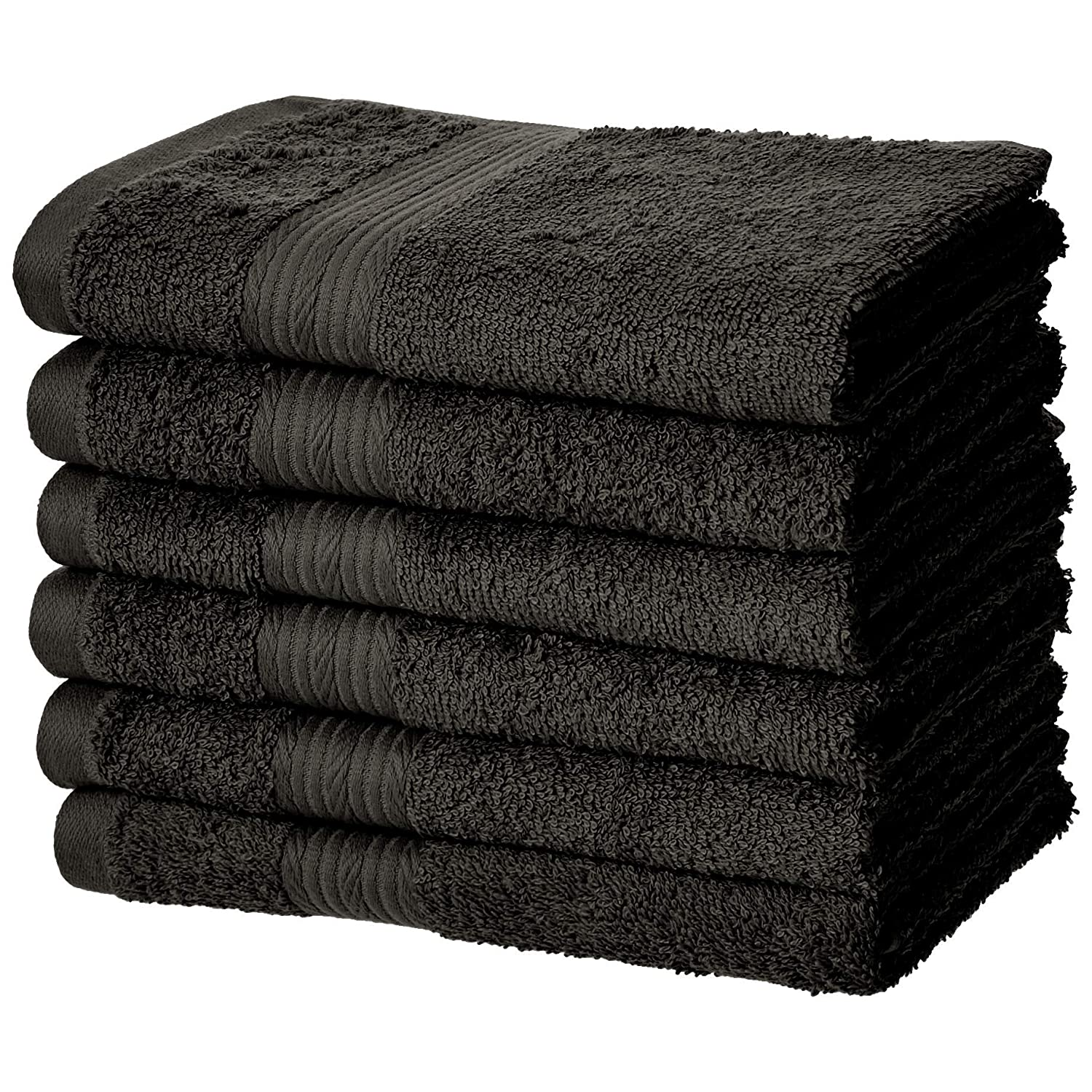 AmazonBasics Fade-Resistant Cotton Hand Towel - 6-Pack, Black