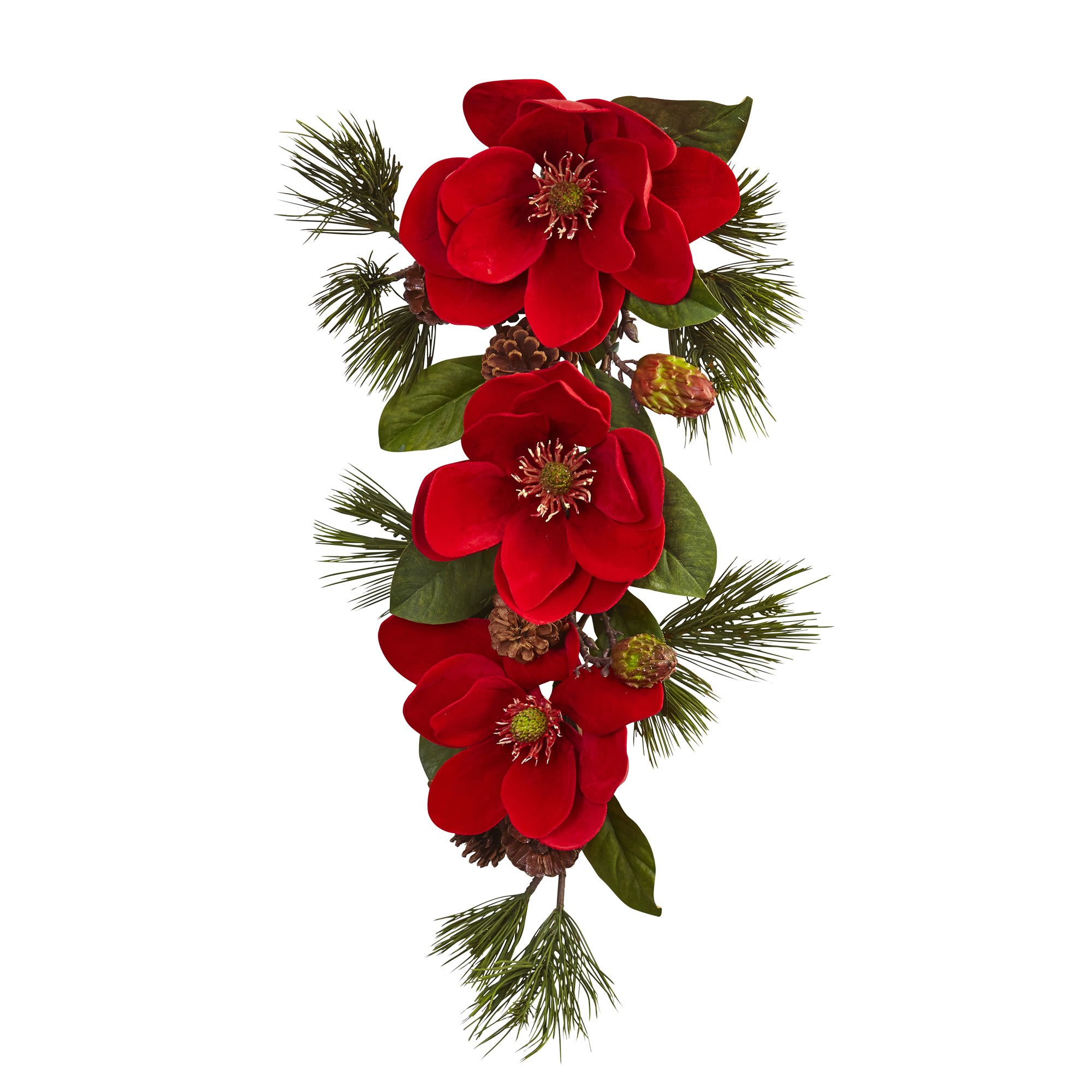 Nearly Natural Magnolia & Pine Tear Drop Wreath, 26'', Red