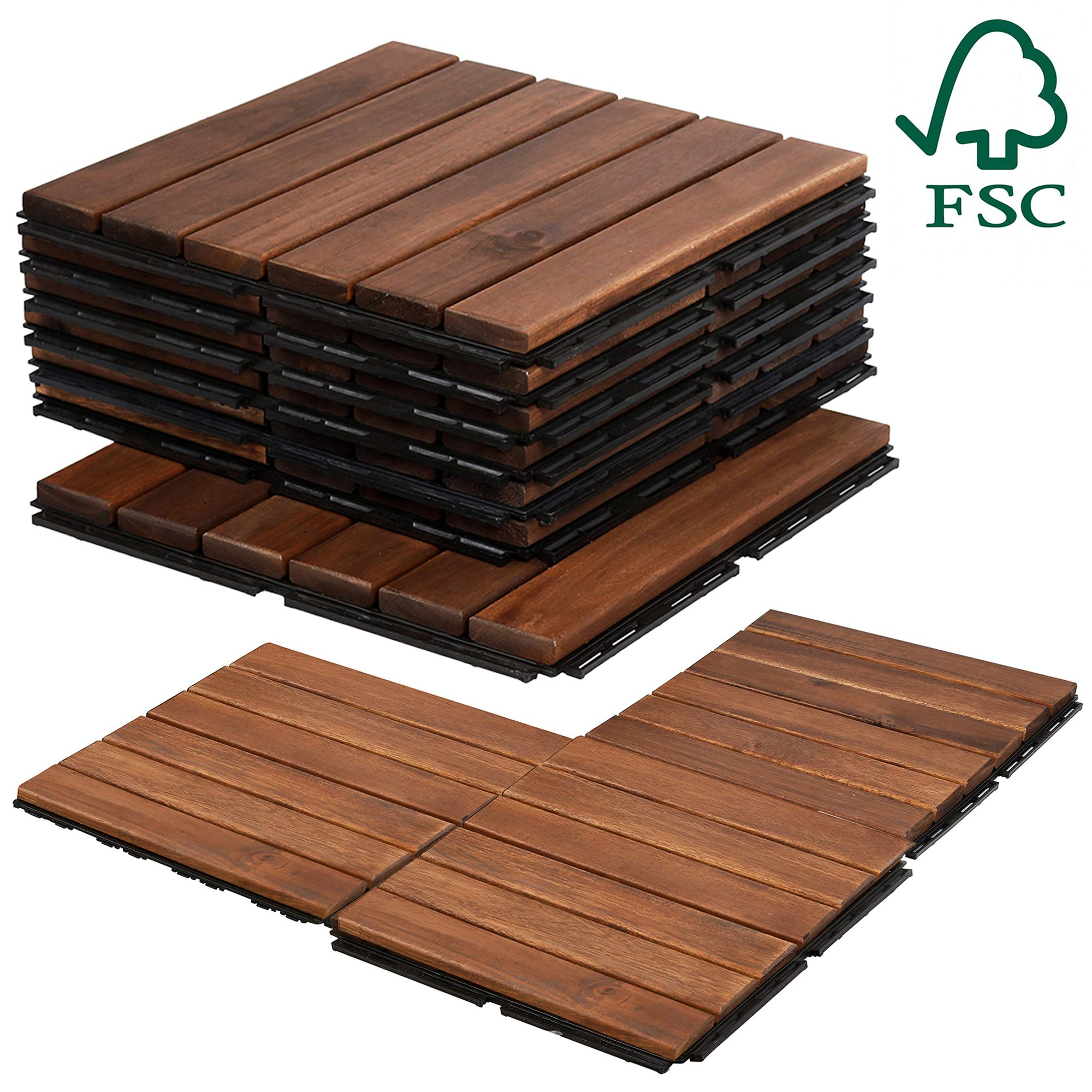 Mammoth Easy Lock Sustainably Sourced Solid Acacia Wood Oiled Finish Interlocking Deck Tiles, Water Resistant Outdoor Patio Pavers or Composite Decking Flooring, Pack of 11 (11 SQFT) (Stripe (6 Slat)) by MAMMOTH