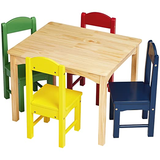 Amazon Com Amazon Basics Kids Wood Table And 4 Chair Set Natural Table Assorted Color Chairs Industrial Scientific