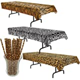 Curated Nirvana Wild Stripes Animal Print Table Cover Bundle With 25 Giraffe  Print Straws | Tiger