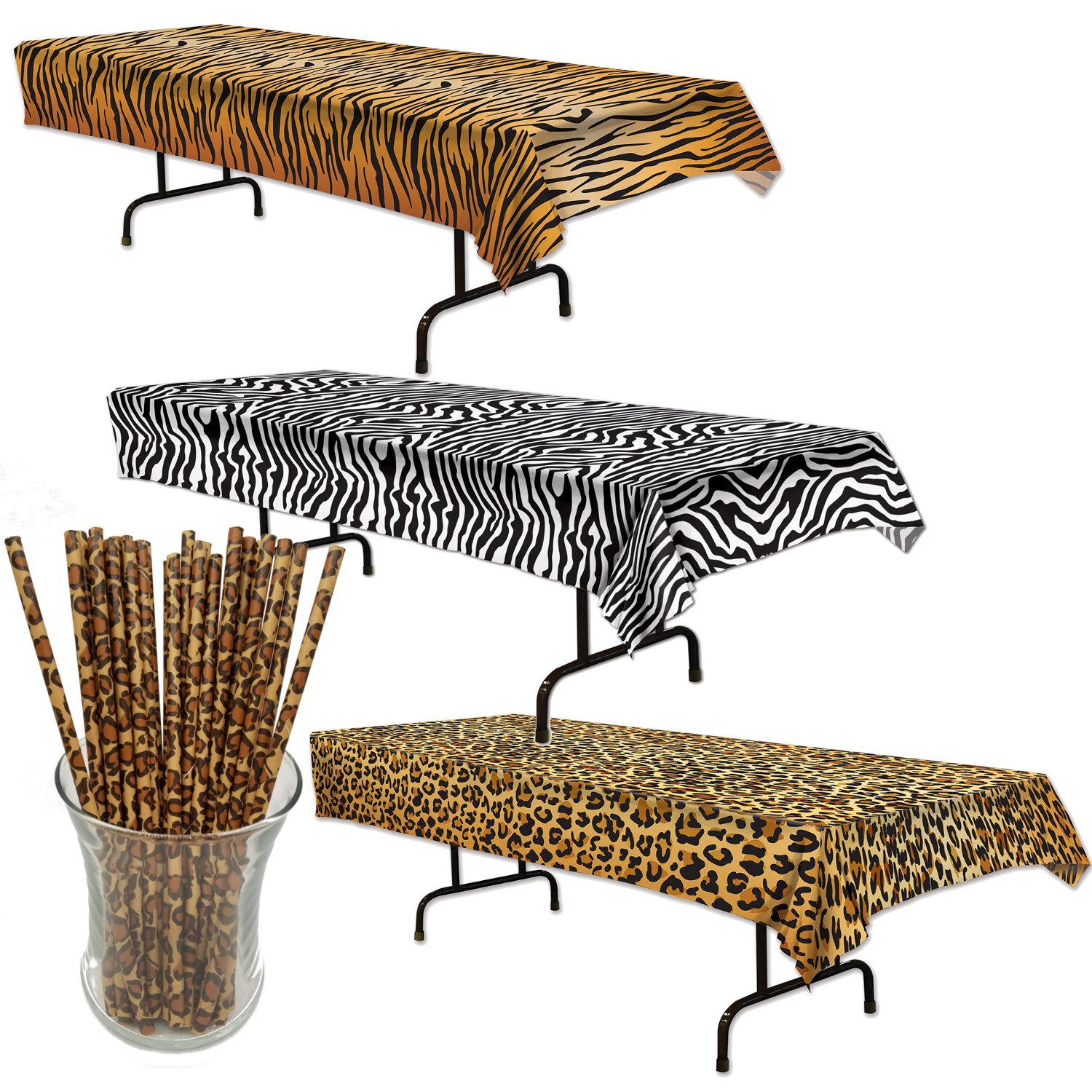Curated Nirvana Wild Stripes Animal Print Table Cover Bundle with 25 Giraffe Print Straws | Tiger, Zebra & Leopard Print Table Cloths