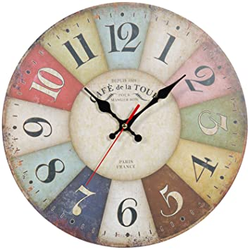 ZWOOS Silent Reloj de Pared Reloj de Cocina de Madera para Salón Dormitorio Cocina, 30CM: Amazon.es: Hogar