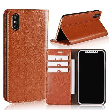 wholesale dealer cabd6 650de Amazon.com: PINKSX iPhone X Case, Genuine Leather iPhone X Wallet ...