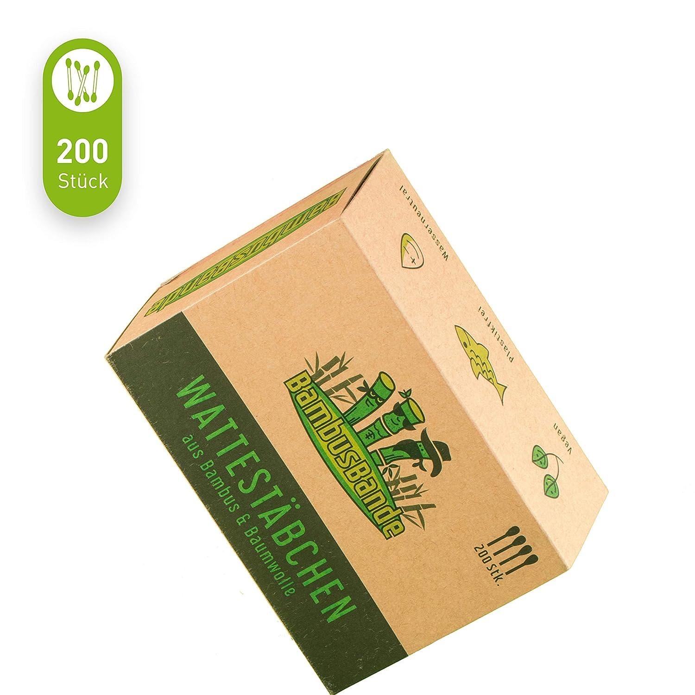 pl/ástico y papel 100/% biodegradable 200 unidades alternativa sostenible a madera Bastoncillos de bamb/ú y algod/ón BambusBande respetuosos con el medio ambiente