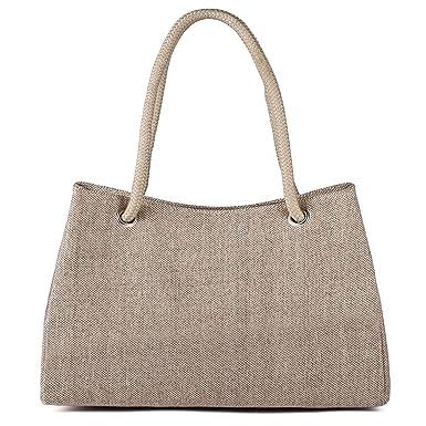 d320996ec Amazon.com: Tibes Canvas Beach Handbag Large Travel Tote Bag Khaki: Clothing