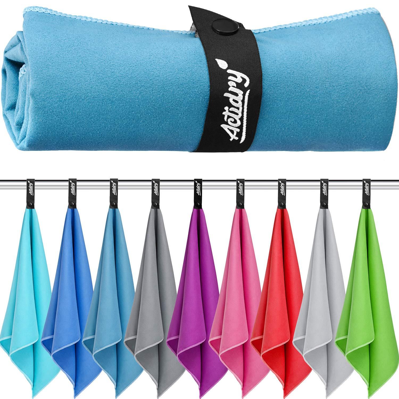 9 colori yoga e sport S bagno S M L XL taglie palestra 2 pezzi 40 x 80 cm blu Telo ideale per spiaggia nuoto ActiDry Asciugamano in Microfibra leggero e assorbente
