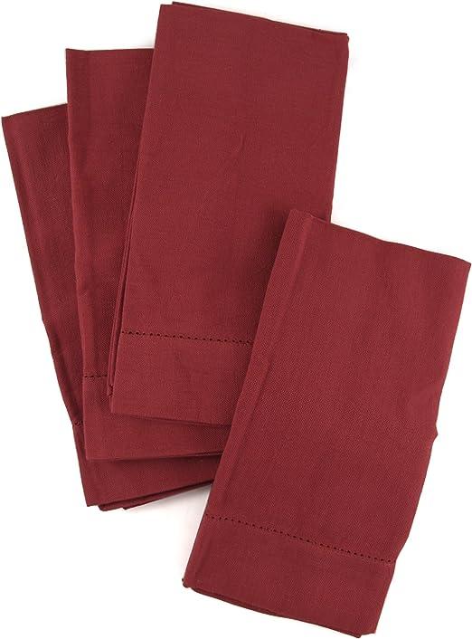Cotton Hemstitch Napkins Burgundy 6//pack