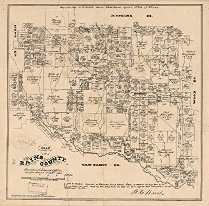 Map Of Texas 1880.Amazon Com Vintage 1880 Map Of Map Of Rains County Texas Shows