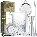 Homestia 9Pcs Crystal Mixing Glass Set includes 24oz Thick Bottom Seamless Mixing Glass, Cocktail Strainer, Fine Mesh…