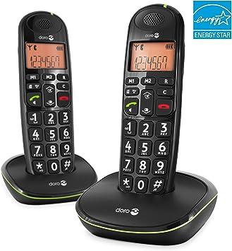 Doro PhoneEasy 100w Duo - Teléfono inalámbrico, 20 entradas, 300m, 50m, AAA, 10 h, Negro: Amazon.es: Electrónica
