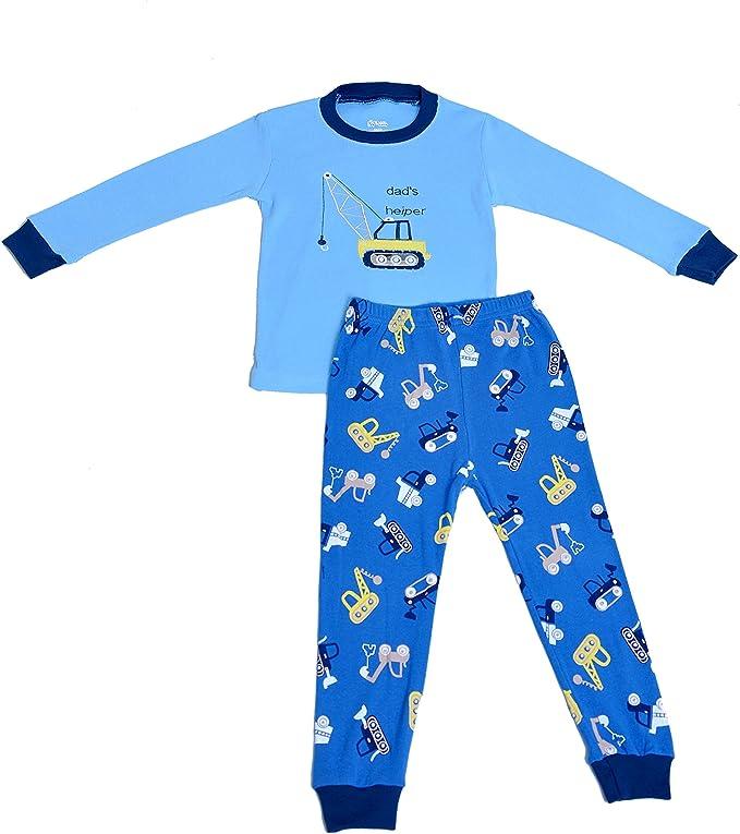 Size 2-7 Years Babylike truckfolklift little boys 2 Piece Pajama 100/% Cotton