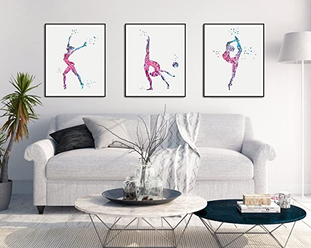 Gymnastics Watercolor Posters Art Prints Sports Wall Decor Artworks Wall Art  Dining Room Art Wall Hanging