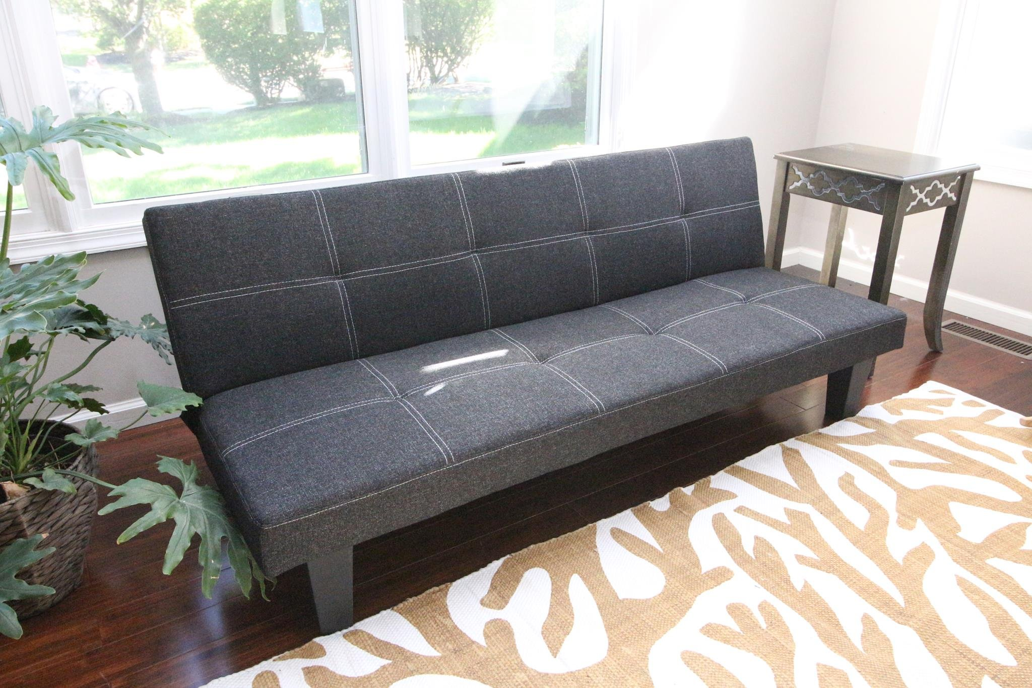 Home Life Andrew Grey Linen with Adjustable Back Klik Klak Sofa Futon Bed Sleeper Convertible