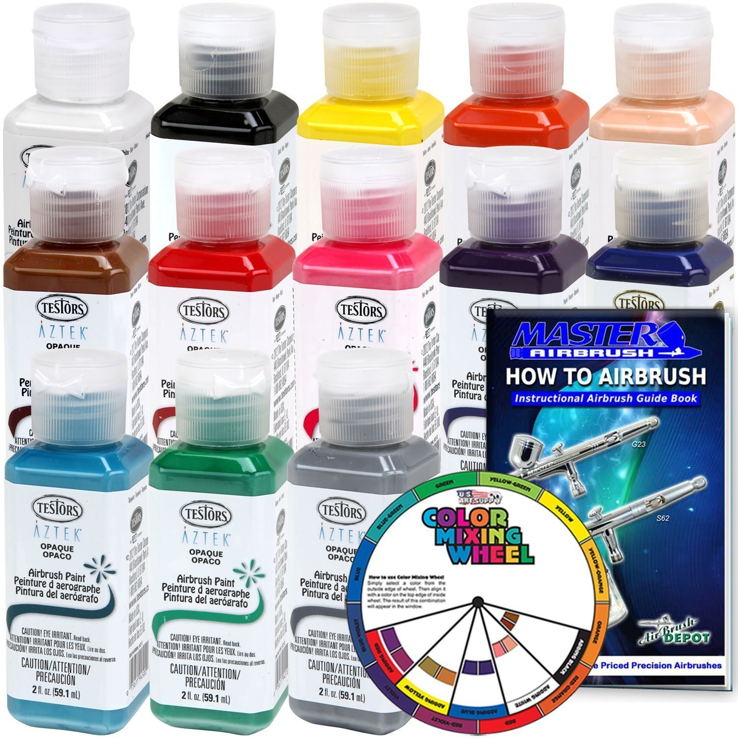 TESTORS - AZTEK Premium OPAQUE Acrylic Airbrush Paint 13-Color Set with FREE Color Wheel & How to Airbrush Manual by Testors