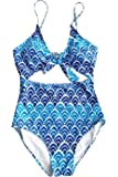 Yinhua Women's Leaves Print Back Hook Closure Cut Out Bikini One Piece Swimsuit Beach Swimwear Bathing Suit