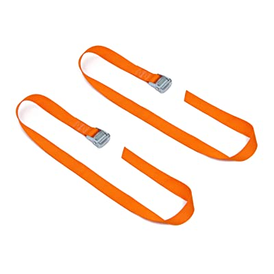 "Powertye 1½"" x 4ft Made in USA Heavy-Duty Lashing Strap with Heavy-Duty Buckle, Orange, 2-Pack: Automotive"