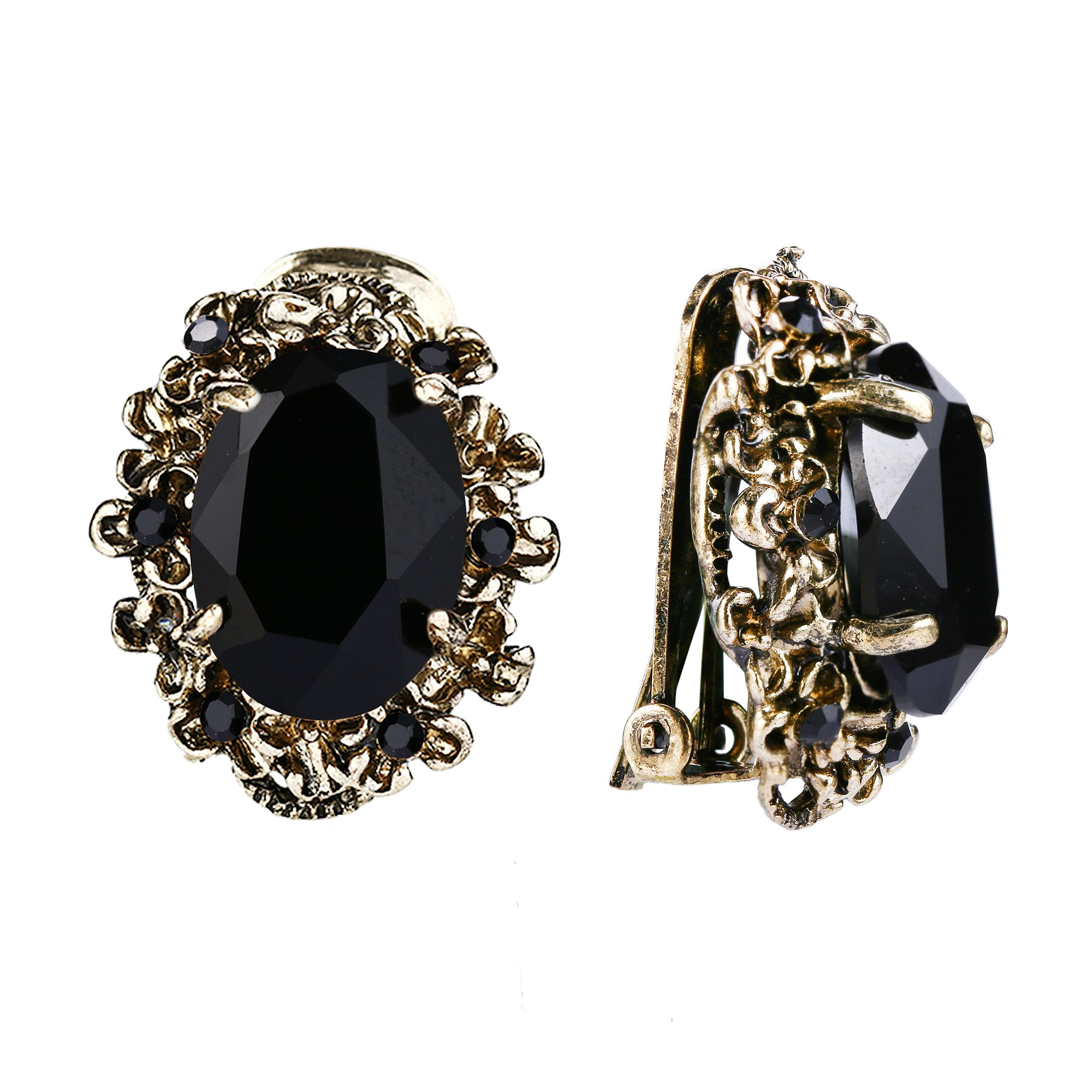 BriLove Antique-Gold-Toned Clip-On Earrings Women's Victorian Style Crystal Floral Cameo Inspired Oval Earrings Black