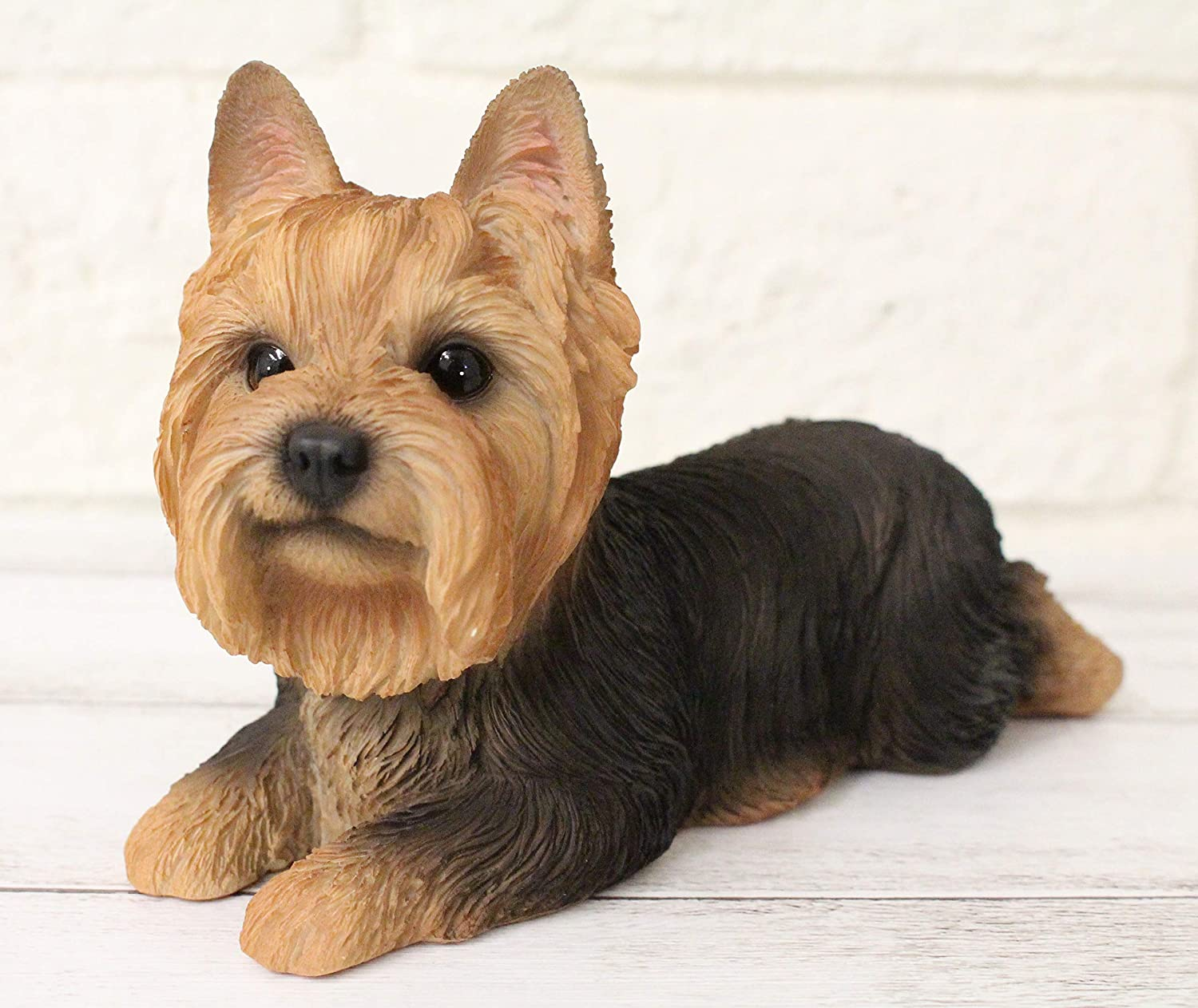 Yorkie Yorkshire Terrier Dog Figurine Statue Lifelike Animal Home Garden Decor Resin Collectible Outdoor Sculpture Lawn Patio Accents Yard