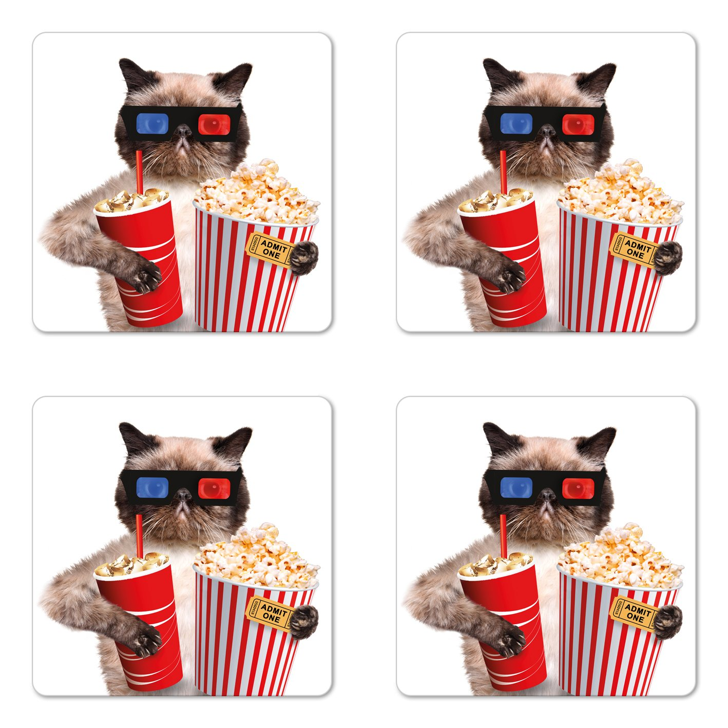 Ambesonne Movie Theater Coaster Set of Four, Cat with Popcorn and Drink Watching Movie Glasses Entertainment Cinema Fun, Square Hardboard Gloss Coasters for Drinks, Multicolor