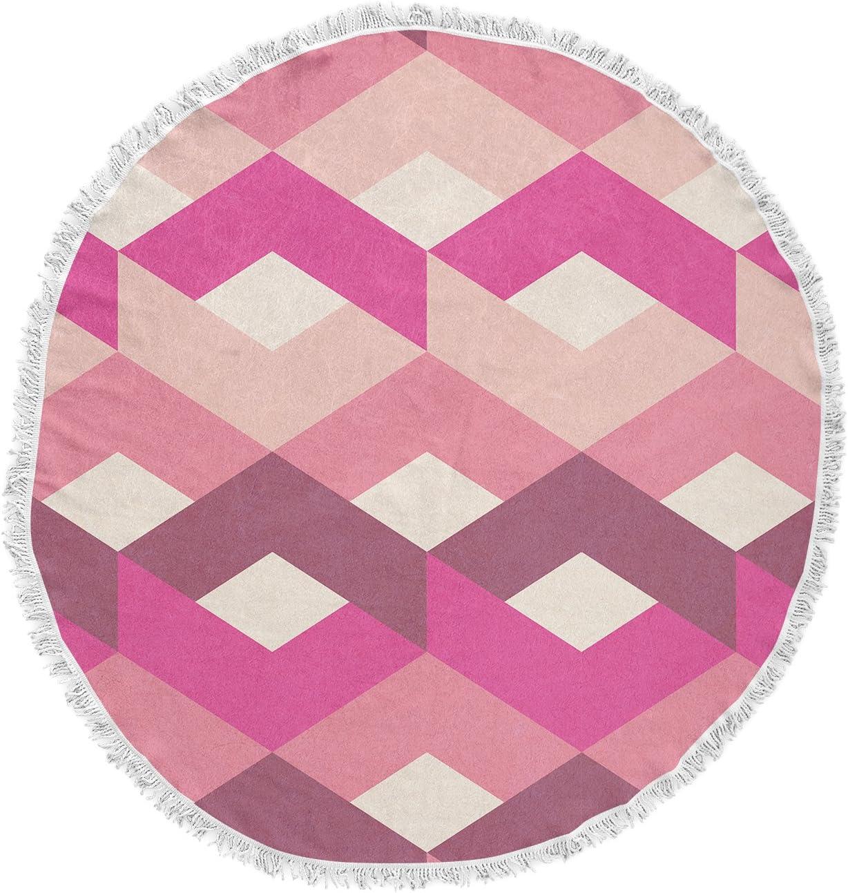 Kess InHouse Tobe Fonseca Fancy Pattern Pink Purple Digital Round Beach Towel Blanket
