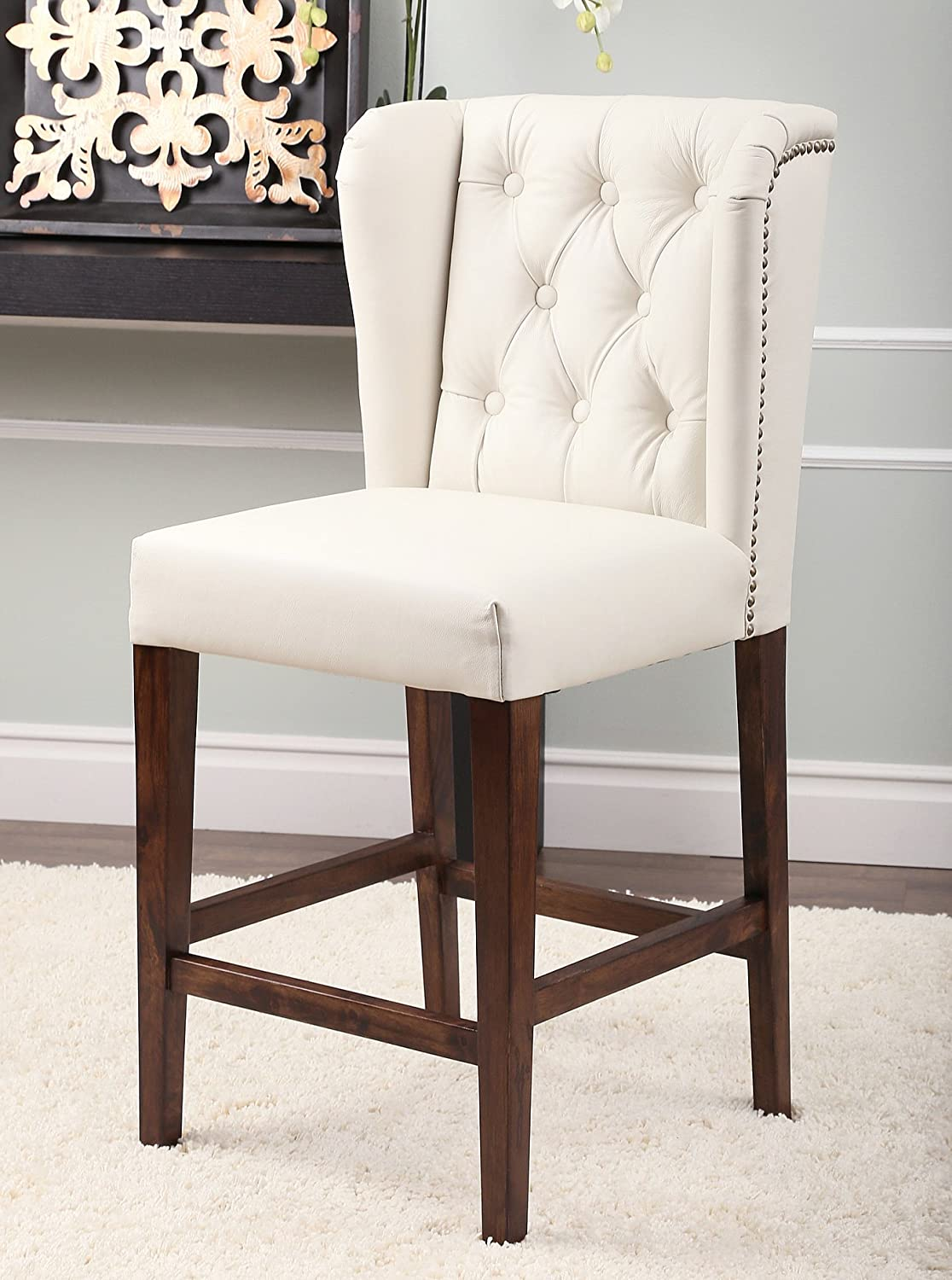 Amazon.com Abbyson Monica Pedersen  Zariah  Tufted Leather Counter Stool Ivory Home u0026 Kitchen : tufted leather bar stool - islam-shia.org