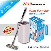 Magic Self Cleaning Microfiber Flat Mop and Bucket Made of Virgin Material - 360 Degree Swivel Head, Great for Wet & Dry Cleaning, Safe for all Surfaces, Hand Grade Stainless Steel Telescopic Wand, Compact Storage, Carry Handle – Design Patented