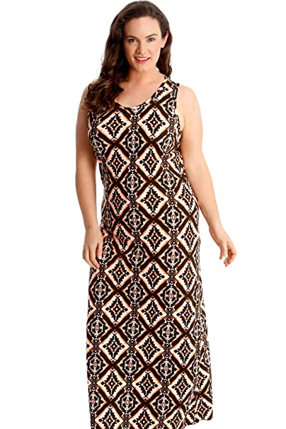 51aedd573e6 Nouvelle Ladies Plus Size Moroccan Tile Print Maxi Dress  Amazon.co.uk   Clothing