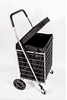 PrimeTrendz PT5614 Grocery Laundry Utility Shopping Cart With Water Proof  Black Liner Cover | Heavy Duty