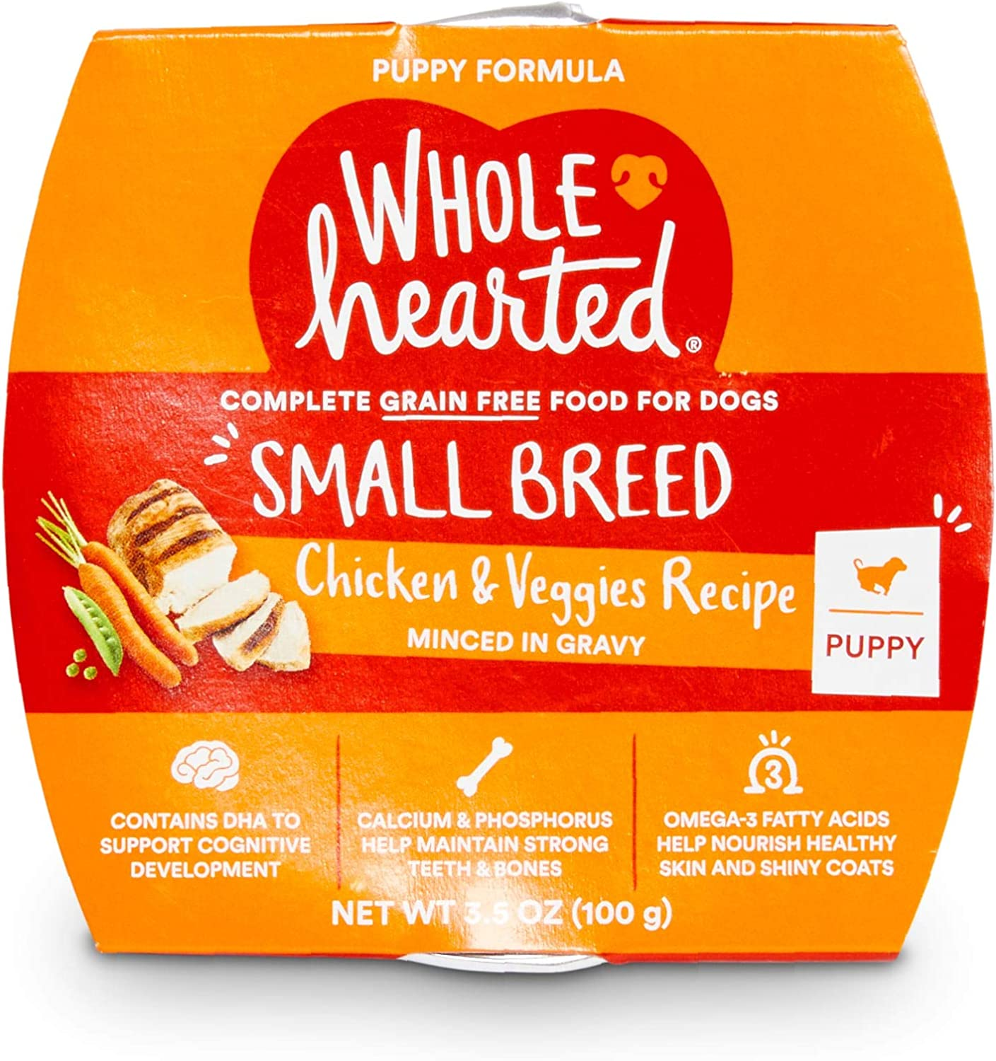 WholeHearted Grain-Free Chicken & Veggies Minced in Gravy Wet Puppy Food, 3.5 oz., Case of 8, 8 X 3.5 OZ
