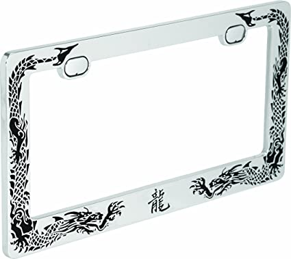 Amazon.com: Bell 22-1-46154-8 Chrome/Black Dragon License Plate ...