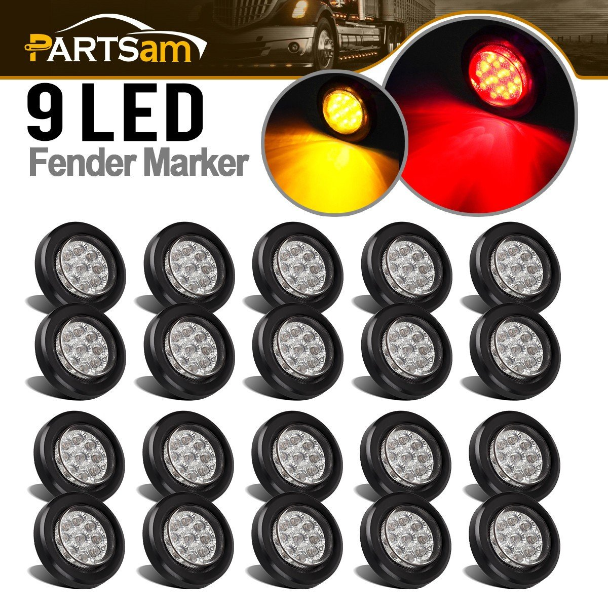 Partsam 2'' Round Led Marker Lights 9LED Reflectors Amber/Red, Kits, Grommet/Pigtails, Sealed Trailer Led Clearance and Side Marker Lights Multi faceted, 10 Amber + 10 Red (pack of 20) by Partsam