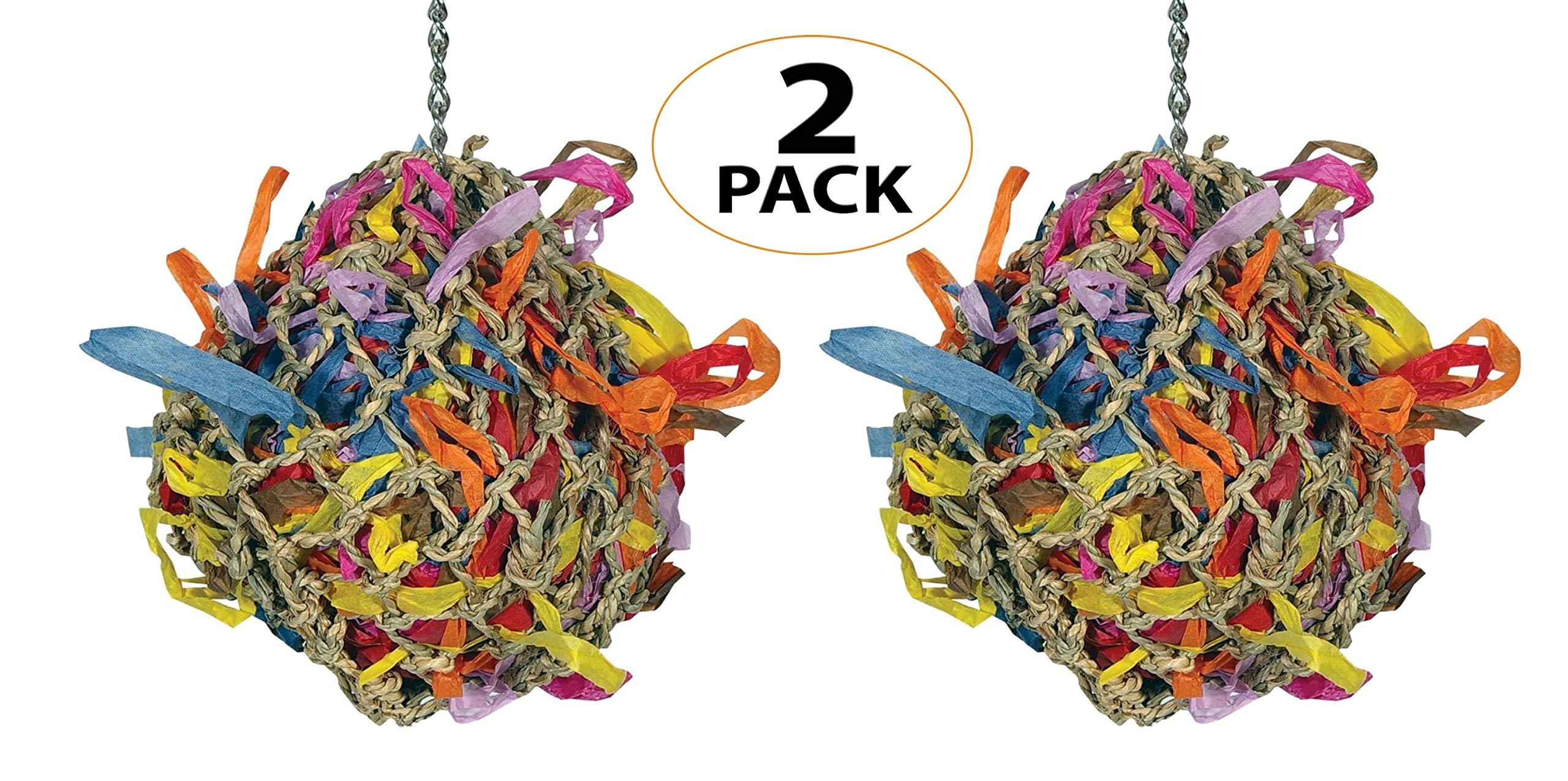 55100 Pk2 5 Inch Medium Super Shredder Ball Bird Toy Foraging Cages Birds Toys Parrot by Bonka Bird Toys