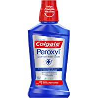 Colgate Peroxyl Antiseptic Mouth Sore Rinse, Mild Mint - 250mL, 8.45 fluid ounce