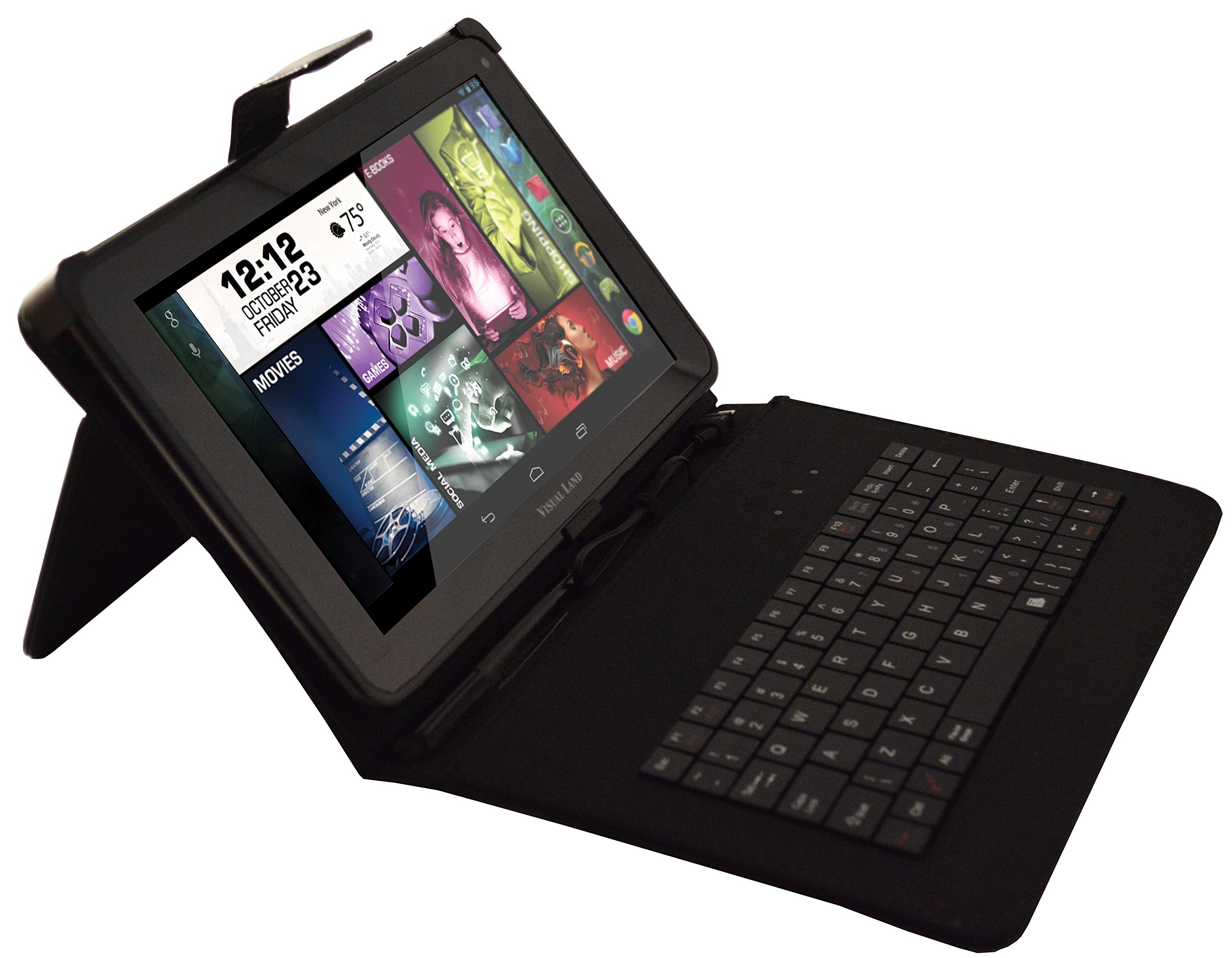 Visual Land Prestige ELITE 9Q-KC - 9'' Quad Core 8GB Android Tablet with Keyboard Case, KitKat4.4, Google Play (Black)