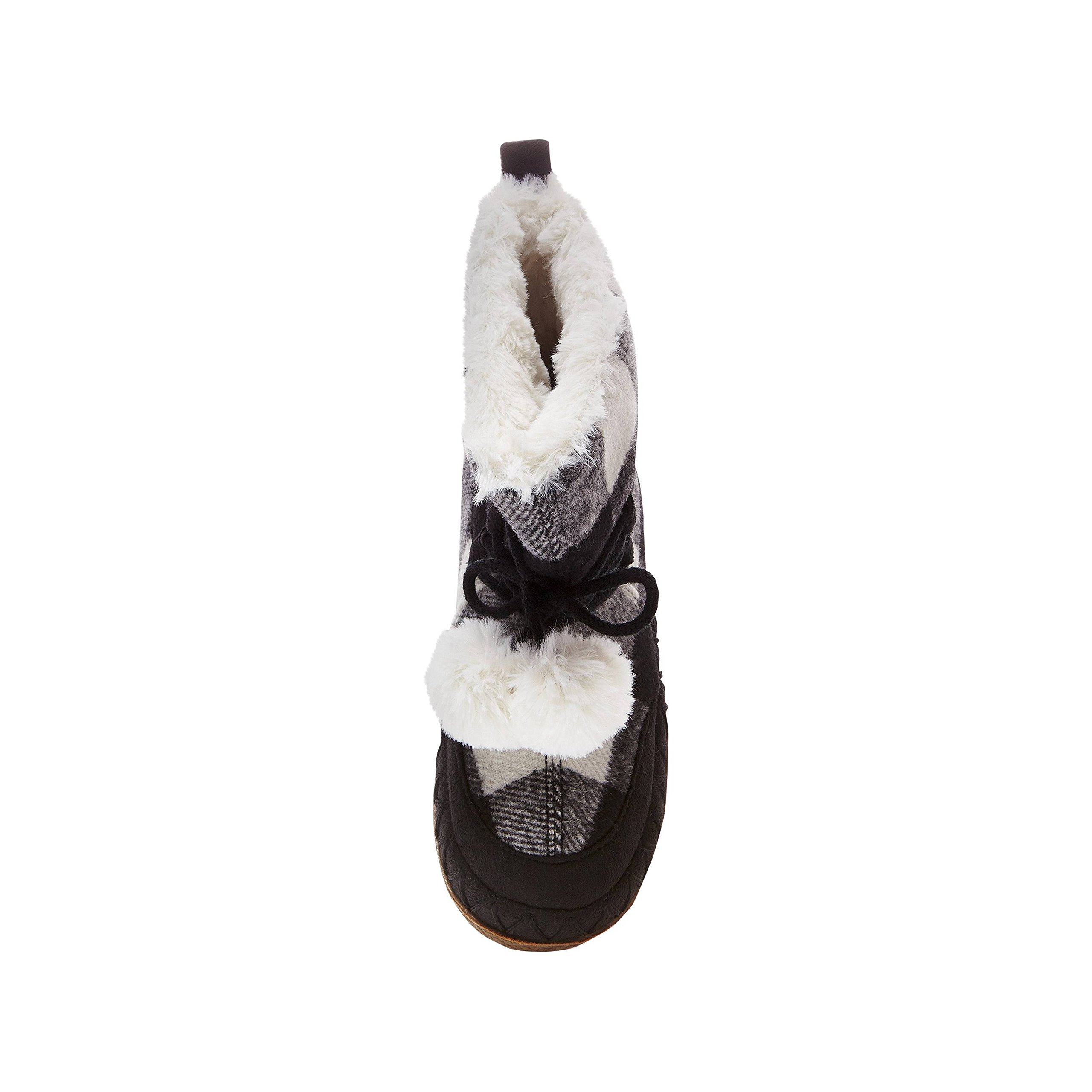 Women's Mad Love Carly Black and White Plaid Bootie Slippers Small (5-6) by Mad Love (Image #3)