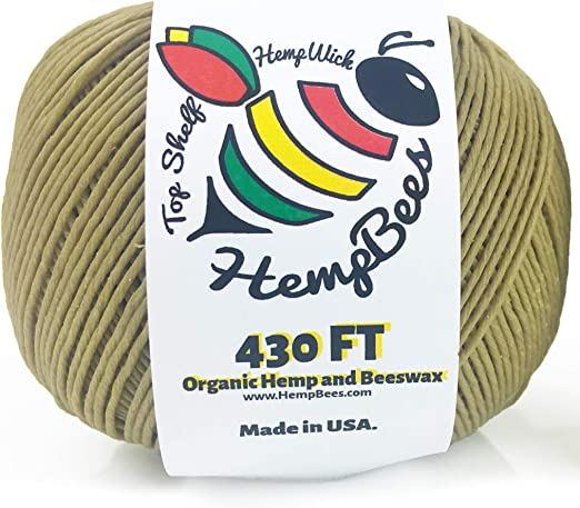 100/% Organic Hemp Wick with Natural Beeswax Coating Twisted Bee 200ft x Standard Size