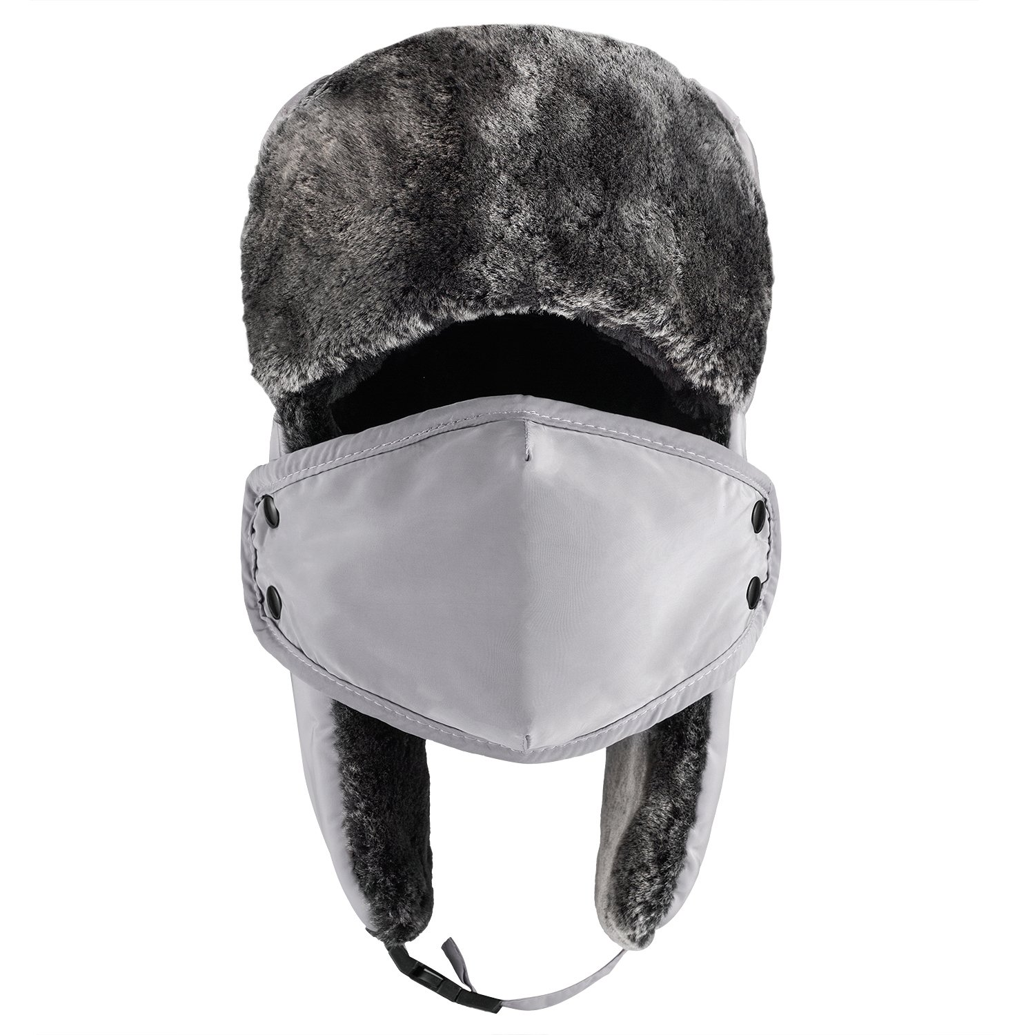 Mysuntown Unisex Winter Trooper Hat Hunting Hat Ushanka Ear Flap Chin Strap  and Windproof Mask(Gray Color) - CAP005GY   Hats   Sports   Outdoors - tibs 2335b3868c06