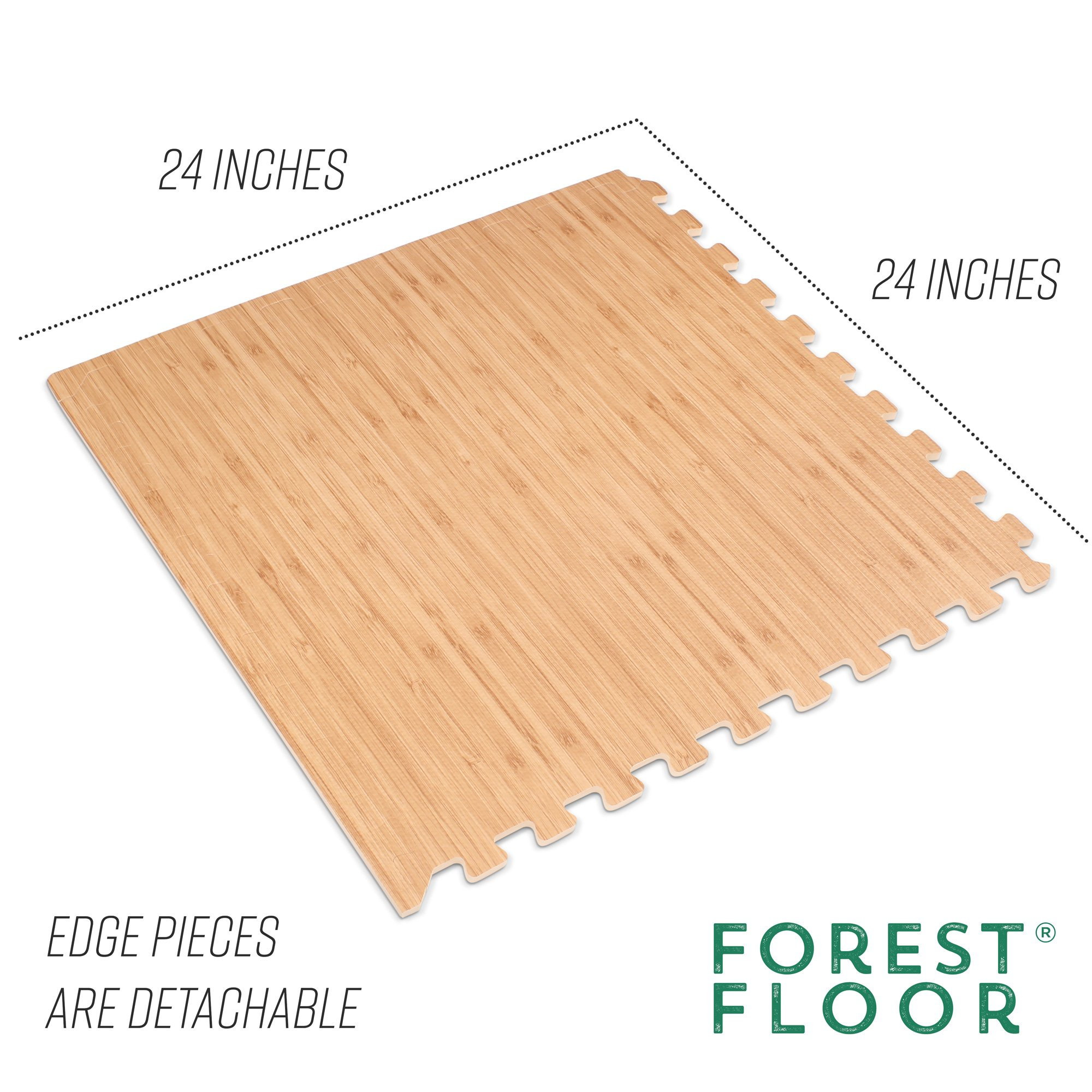 Forest Floor 3/8'' Thick Printed Wood Grain Interlocking Foam Floor Mats, 16 Sq Ft (4 Tiles), Light Bamboo by Forest Floor (Image #4)