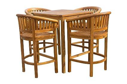 Amazon.com: Juego de 5 barras de madera de teca para patio ...